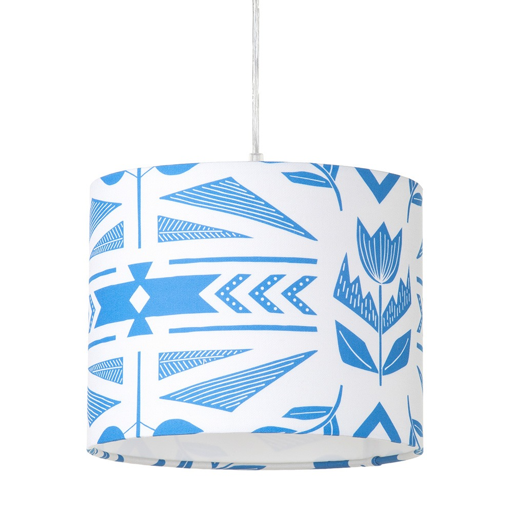 Andes Floral Easyfit Lampshade, Blue