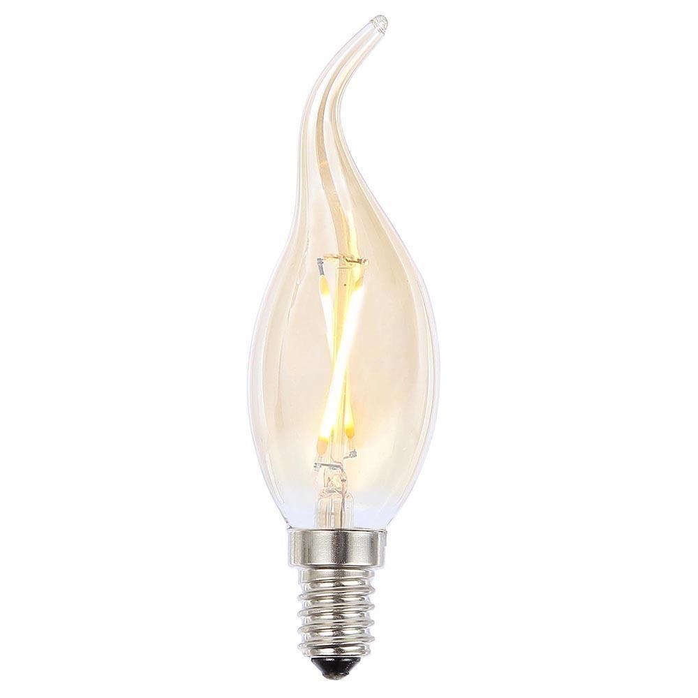 2W LED SES E14 Vintage Filament Candle Bulb, Clear