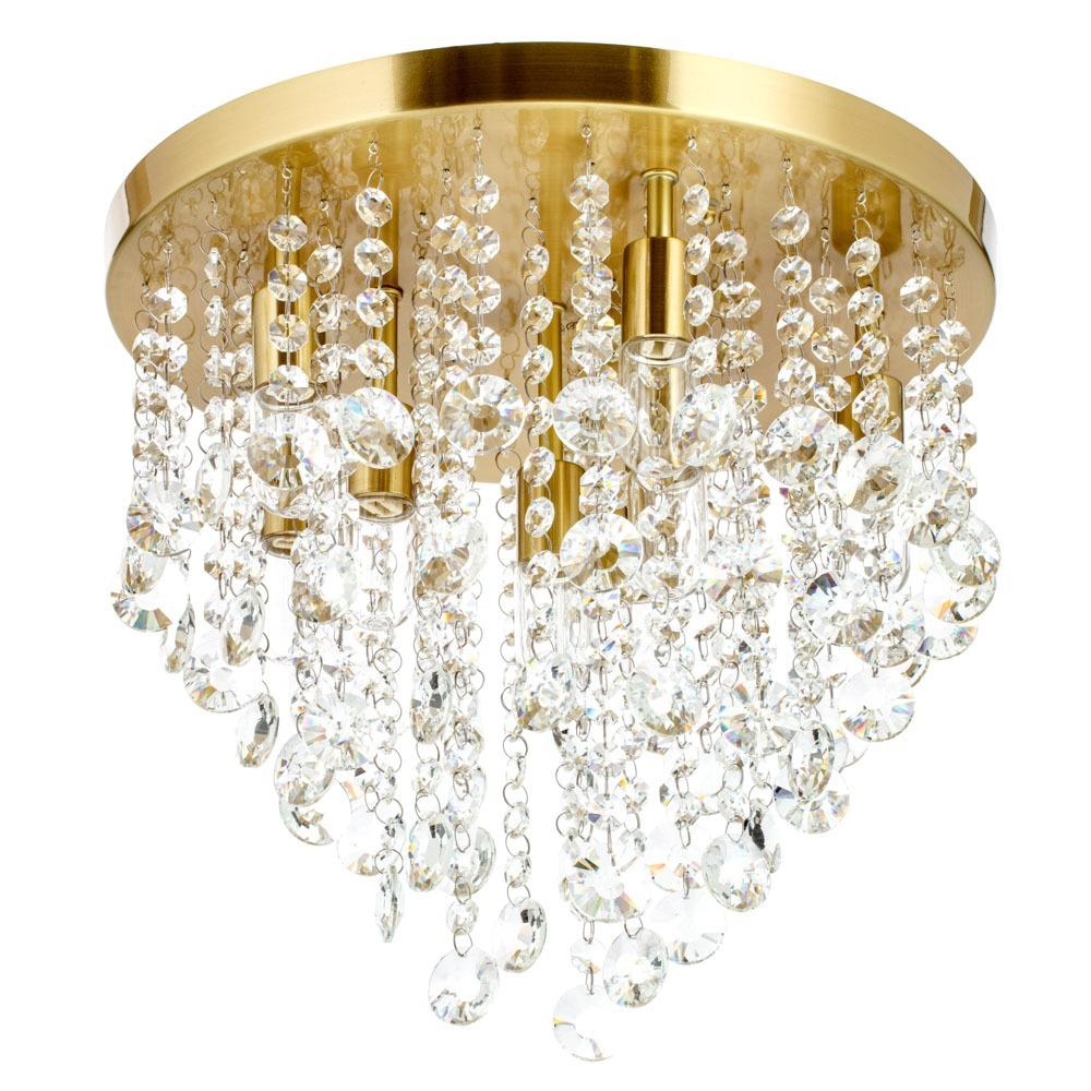 Ceiling lights Cirrus Large Bathroom Flush Ceiling Light, Satin Brass
