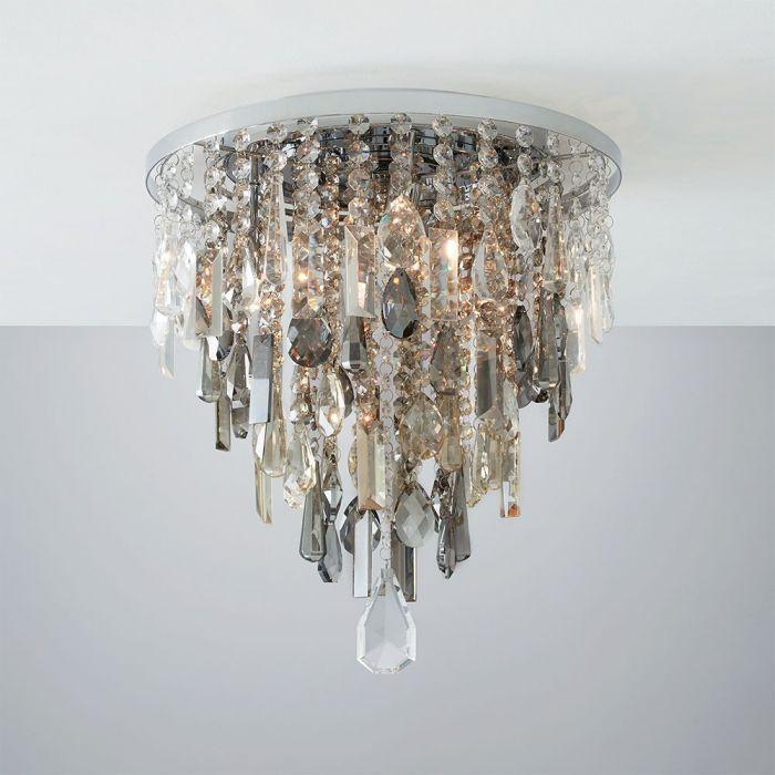 Jennifer Flush Ceiling Light With Mixed Cut Glass Chrome Bhs