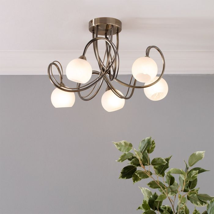 Soni Large Flush Ceiling Light Antique Brass Bhs