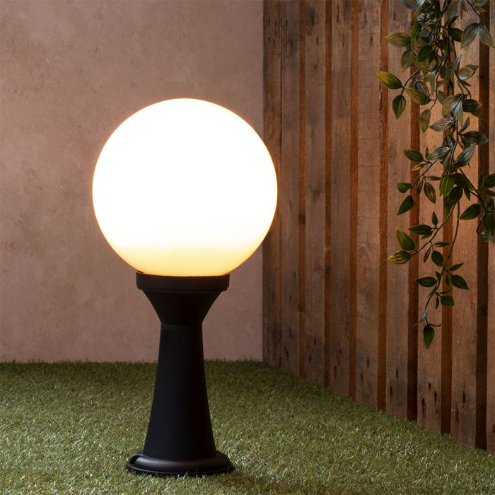 Westray Outdoor Globe Post Light Black, Globe Outdoor Light Post