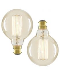 2 Pack of 40 Watt BC B22 Vintage Filament Globe Bulb, Clear