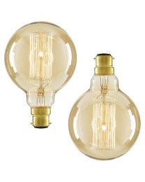 2 Pack of 40W BC B22 Vintage Filament Globe Bulb, Gold Tinted