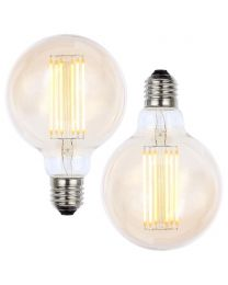 2 Pack of 6W LED ES E27 Vintage Filament Large Globe Bulb, Tinted