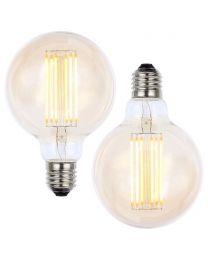 2 Pack of 6W LED ES E27 Vintage Filament Large Globe Bulb, Tinted