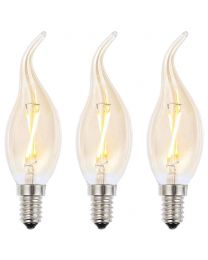 3 Pack of 2W LED SES E14 Vintage Filament Candle Bulb, Tinted