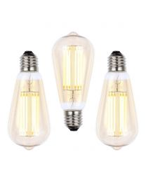 3 Pack of 6W LED ES E27 Vintage Filament Teardrop Bulb, Tinted