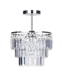 Aurora Crystal Bar Semi Flush Ceiling Light