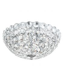 Ava Flush Ceiling Light, Chrome and Clear