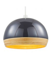 Bamboo Dome Easyfit Shade, Grey lit on white