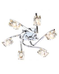 Bella 6 Light Flush Ceiling Light, Chrome