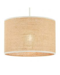 Burlap Easyfit Shade, Natural and Ivory lit on white