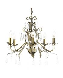 Flora 5 Light Chandelier, Antique Brass