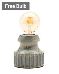 Tizzo Retro Vessel Table Lamp with 95mm Bulb, Grey thumbnail