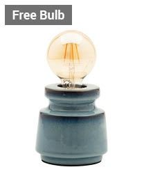 Tizzo Retro Vessel Table Lamp with 95mm Bulb, Blue thumbnail