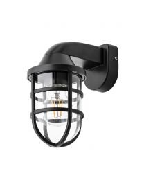 Camb Outdoor Caged Wall Light, Black