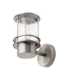 Canis Miners Style Outdoor Wall Lantern, Stainless Steel