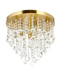 Cirrus Large Bathroom Flush Ceiling Light, Satin Brass