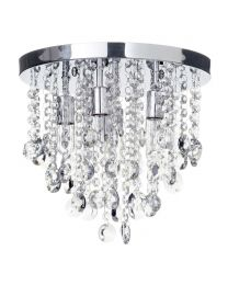 Cirrus Medium Bathroom Flush Ceiling Light Chrome