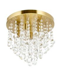 Cirrus Medium Bathroom Flush Ceiling Light, Satin Brass