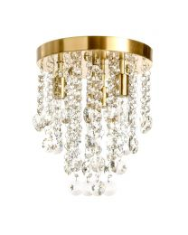 Cirrus Small Bathroom Flush Ceiling Light, Satin Brass