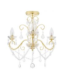 Daphne 3 Light Bathroom Chandelier, Satin Brass