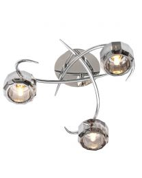 Eva Flush Ceiling Light, Chrome and Smoke