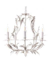 Flo 5 Light Chandelier, Satin Ivory