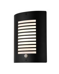 Hale Panel Slatted Wall Lantern With PIR, Black