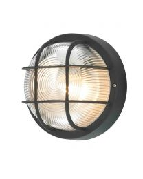 Hoy Polycarbonate Round Bulkhead Outdoor Wall Light, Black