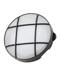 Jon 15 Watt LED Round Grid Outdoor Bulkhead Light, Black