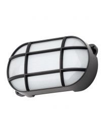 Jon 8 Watt LED Oval Grid Outdoor Bulkhead Light, Black