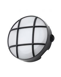 Jon 8 Watt LED Round Grid Outdoor Bulkhead Light, Black