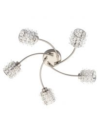 Julianne Crystal Cylinder Large Ceiling Light, Satin Nickel