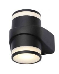 Stanley Lagan Outdoor LED Cylindrical Up & Down Wall Light - Black