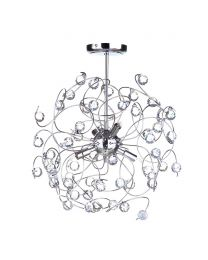 Lila Sputnik Flush Ceiling Light, Chrome
