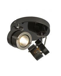Lucas Twin Ceiling Spotlight Plate, Black Chrome