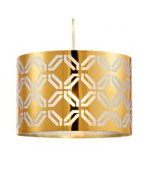 Metallic Lasered Easyfit Shade, Brass lit on white