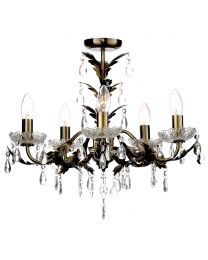 Paisley Flush Chandelier, Antique Brass