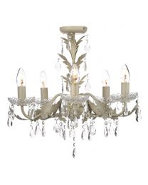 Paisley Flush Chandelier, Cream and Gold