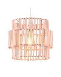 Rattan Double Cylinder Easyfit Shade, Matte Pink