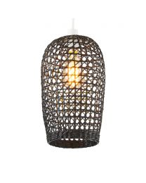 Small Woven Rattan Easyfit Shade, Matte Black