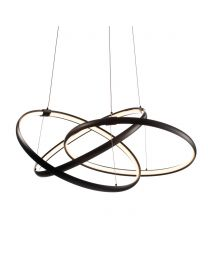 Sola LED Triple Ring Ceiling Pendant, Matt Black