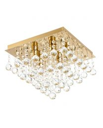 Tampa Large Bathroom Flush Ceiling Light, Satin Brass