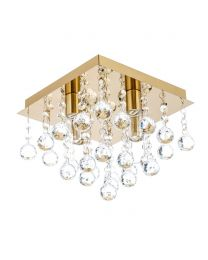 Tampa Small Bathroom Flush Ceiling Light, Satin Brass