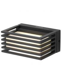 Stanley Tweed Outdoor Industrial LED Slatted Wall Light - Black