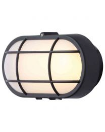 Stanley Vasman Outdoor Oval LED Bulkhead Wall or Ceiling Light - Black