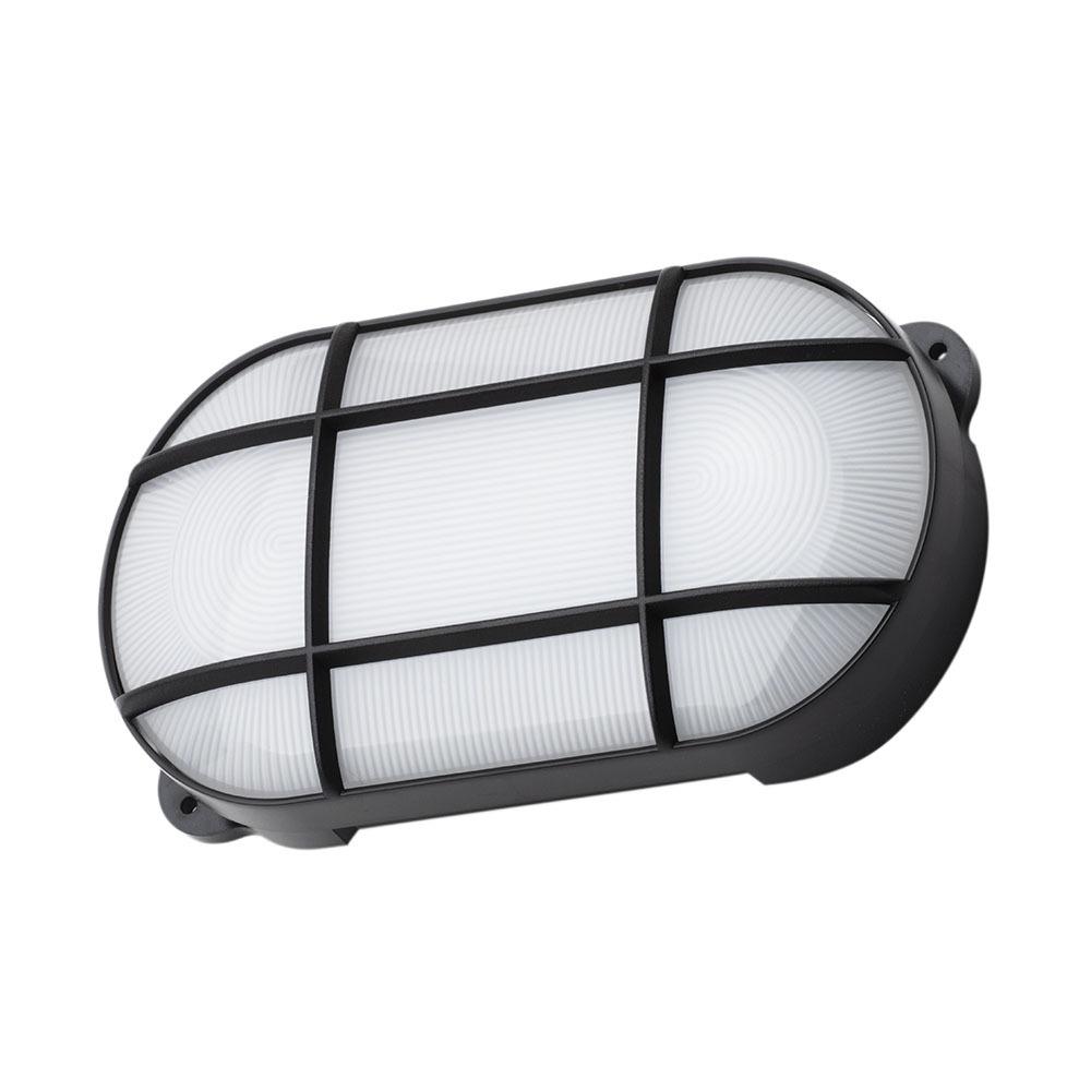 Outdoor Lighting Jon 15 Watt LED Oval Grid Outdoor Bulkhead Light, Black