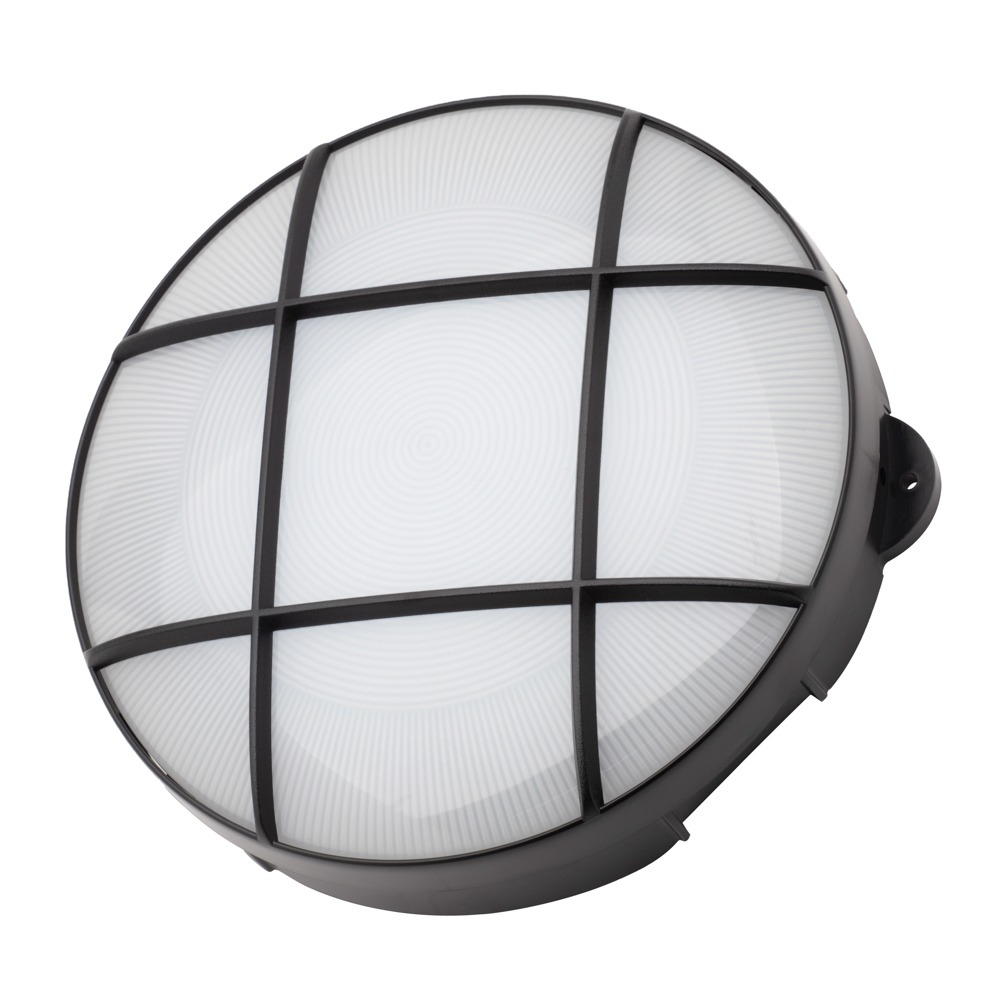 General Lighting Accessories Jon 15 Watt LED Round Grid Outdoor Bulkhead Light, Black